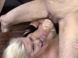 Pool boy get cock sucked by horny blonde granny