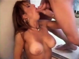 Busty blonde MILF outdoor blowjob and cum