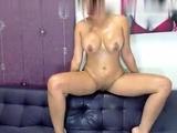 Cute busty blonde fingering on webcam