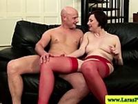 Mature stockings milf sucking dick before hardcore