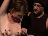 Nipple clamped bdsm babe tormented by master