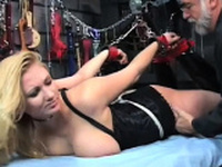 Girl enjoys intimate moments of non-professional slavery