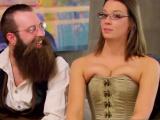 Strange couple strips off costume