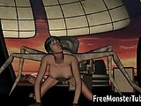 Hot 3D brunette getting fucked by an alien spider
