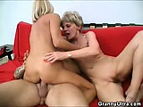 Cock Grinding Grannies In A Threesome