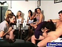 Clothed femdoms sucking cock