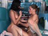 Lesbian fondling and toy fucking Horny youthful nurses