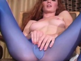 Steaming beauty shows feet and cunt in different pantyhoses