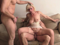 Blonde mommy sucks and rides at same time
