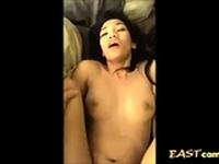 Asian Filipino American fucks white cock and squirts
