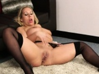 Flirty looker gets jizz load on her face eating all the cum