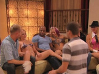 Blonde babes swap their husbands cock in the sex games.