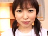 Nasty Oriental teen with pigtails gets her mouth filled wit