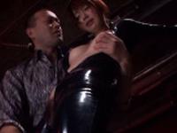Classy japanese gf Mayu Nozomi is sucking her fake penis