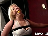 Hot-tempered babe is fucked with a dildo