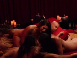 Women suck guys dick at the same time in the Red Orgy Room