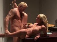 Ravishing blonde has her bald pussy nailed