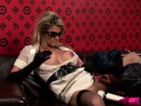 Lesbo playgirl moans hard with 2 large toys on cunt