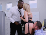 Busty secretary double penetrated in the office
