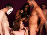 Slutty looker gets cumshot on her face eating all the54WNS