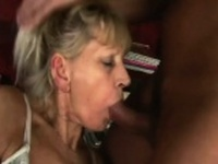 Blonde granny sucks and fucks a young cock