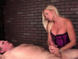 Busty blonde gave handjob