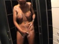 Horny And Busty Masturbate in the Shower