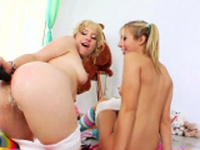 Spicy lesbos fill up their enormous bootys with cream80YLc