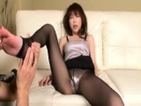Asian MILF shows off her ass, gets fingered and sucks befor