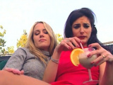 Lesbian couple having fun on the porch