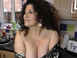 Sexy busty babe dancing and showing downblouse