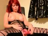 Redhead lingerie homemade dildo masturbate