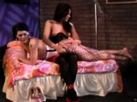 Stockings lesbian spanked ass