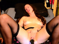 Lena Cova Anal Masturbation in Black Stockings