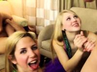 Amateur blonde sucks and fucks Mardi Gras