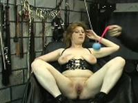 Mesmerizing cutie is sitting on her huge fake penis