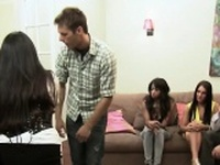 Beautiful interracial couple having a fun in a reality show