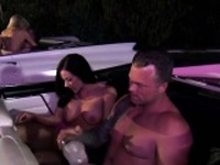 Hot swingers fucking inside the car while watching a movie