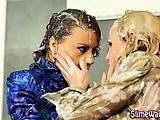 Messy gloryhole cum shower lesbians