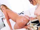 Nasty lesbos fill up their huge fannys with whipped cream an