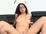 Racy barely legal latin Julia De Lucia bends down for sex