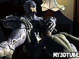 3D cartoon Catwoman sucks on Batmans rock hard cock