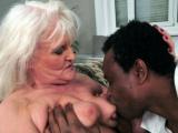 Interracial fuck action with granny