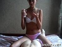 Kinky brunette first timer Tanya endures hard sex