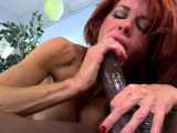 Strapon clad milf in latex gets pounded