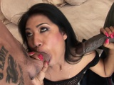 Busty Asian slut fucked in a hot double penatration session