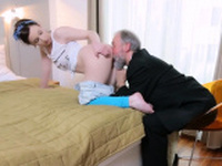 Horny old fart stuffs throat of a young chick with his wang