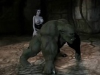 Foxy 3D babe fucking an orc with a strap on dildo