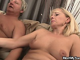 Slutty bitch rides his fathers dick