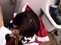 Naughty Japanese girl kneels down and confesses her passion